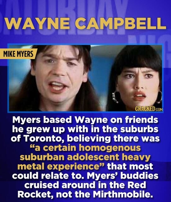 WAYNE CAMPBELL MIKE MYERS CRACKEDCON Myers based Wayne on friends he grew up with in the suburbs of Toronto, believing there was a certain homogenous
