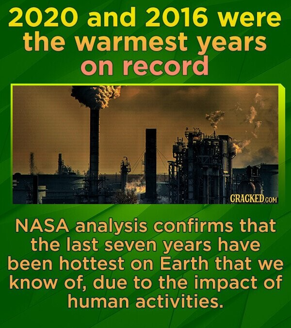 2020 and 2016 were the warmest years on record CRACKEDcO NASA analysis confirms that the last seven years have been hottest on Earth that we know of, due to the impact of human activities.