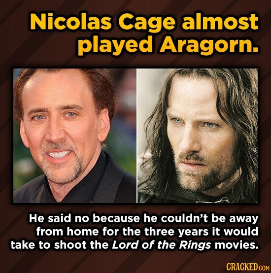 Nicolas Cage almost played Aragorn. He said no because he couldn't be away from home for the three years it would take to shoot the Lord of the Rings movies. CRACKED.COM