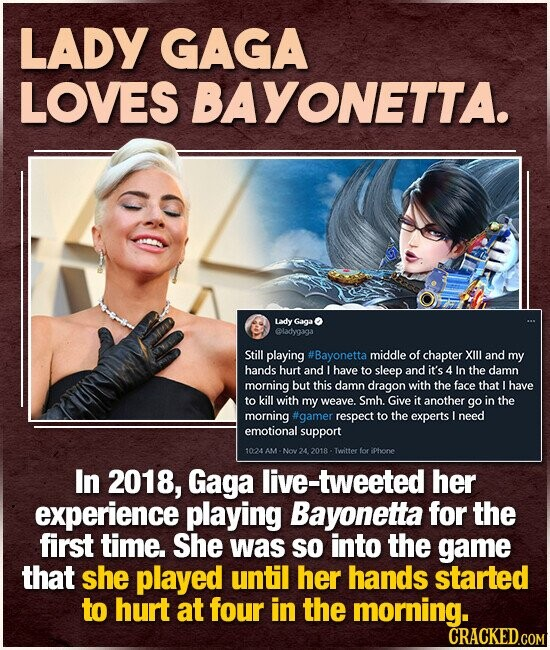 LADY GAGA LOVES BAYONETTA. Lady Gaga ladygiga Still playing #Bayonetta middle of chapter XIlI and my hands hurt and Lhave to sleep and it's 4 In the damn morning but this damn dragon with the face that I have to kill with my weave. Smh. Give it another go in the morning