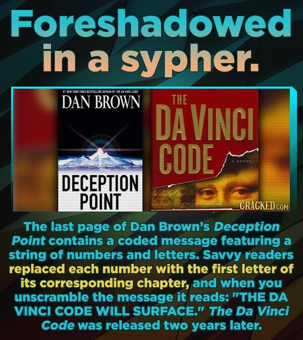Foreshadowed in a sypher. t rY TIMESTESTSELLINS maN DAN BROWN THE DA VINCI CODE NOYE DECEPTION POINT The last page of Dan Brown's Deception Point contains a coded message featuring a string of numbers and letters. Savvy readers replaced each number with the first letter of its corresponding chapter,