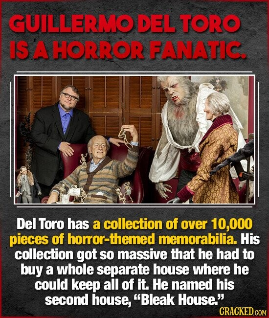 GUILLERMO DEL TORO IS A HORROR FANATIC. Del Toro has a collection of over 10,000 pieces of horror-then memorabilia. His collection got SO massive that he had to buy a whole separate house where he could keep all of it. He named his second house, Bleak House.