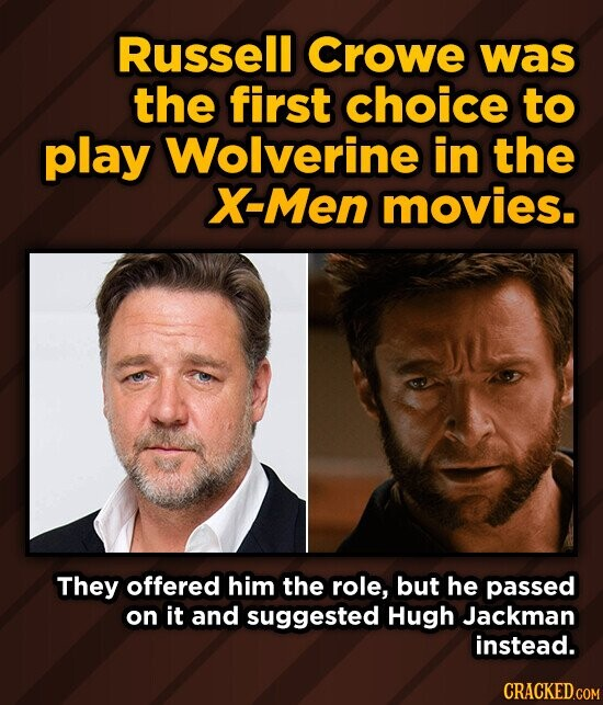 Russell Crowe was the first choice to play Wolverine in the X-Men movies. They offered him the role, but he passed on it and suggested Hugh Jackman instead.