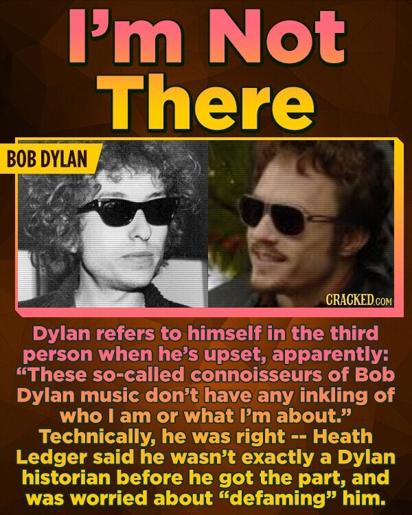 I'm Not There BOB DYLAN Dylan refers to himself in the third person when he's upset, apparently: These so-called connoisseurs of Bob Dylan music don't have any inkling of who I am or what I'm about. Technically, he was right -- Heath Ledger said he wasn't exactly a Dylan historian
