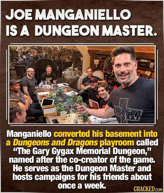 JOE MANGANIELLO IS A DUNGEON MASTER. S Manganiello converted his basement into a Dungeons and Dragons playroom called The Gary Gygax Memorial Dungeon, named after the co-creator of the game. He serves as the Dungeon Master and hosts campaigns for his friends about once a week.
