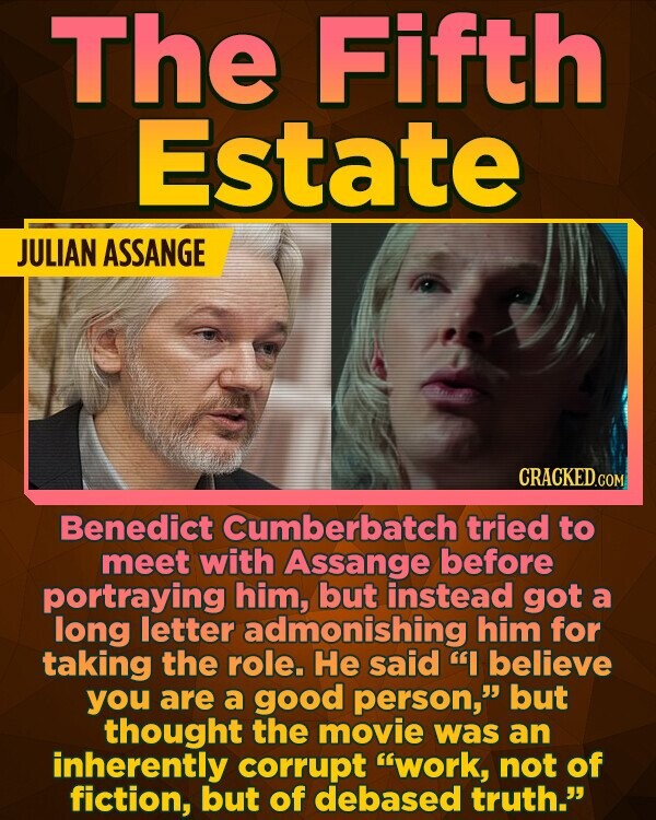 The Fifth Estate JULIAN ASSANGE Benedict cumberbatch tried to meet with Assange before portraying him, but instead got a long letter admonishing him for taking the role. He said I believe you are a good person, but thought the movie was an inherently corrupt work, not of fiction, but