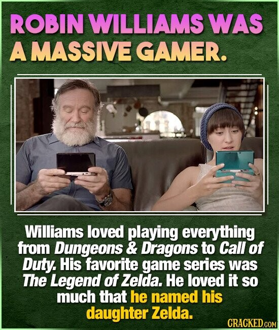 ROBIN WILLIAMS WAS A MASSIVE GAMER. Williams loved playing everything from Dungeons & Dragons to Call of Duty. His favorite game series was The Legend of Zelda. He loved it SO much that he named his daughter Zelda.