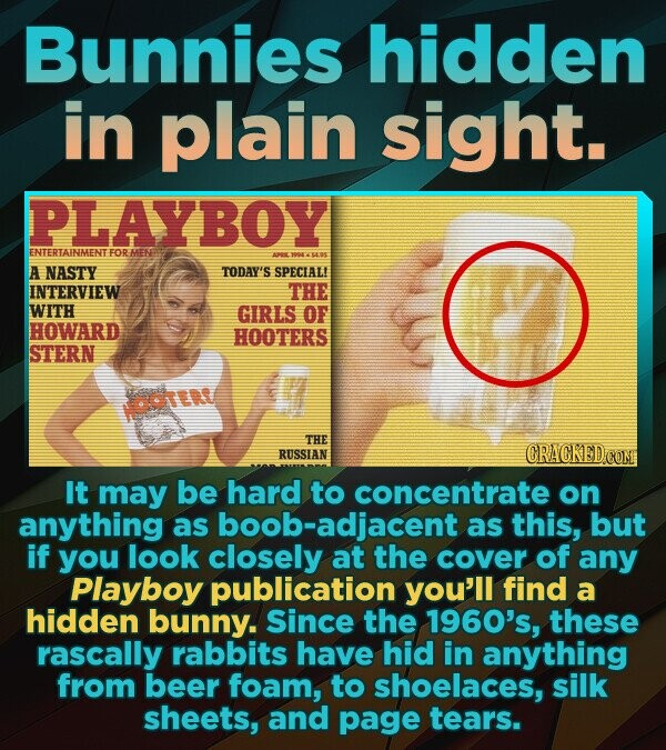 Bunnies hidden in plain sight. PLAYBOY ENTERTAINMENTFOR HENE A NASTY TODAY'S SPECIAL INTERVIEW THE WITH GIRLS OF HOWARD HOOTERS STERN NOOTERT THE RUSSIAN CRACKED CON It may be hard to concentrate on anything as oob-adjacent as this, but if you look closely at the cover of any Playboy publication you'll find a