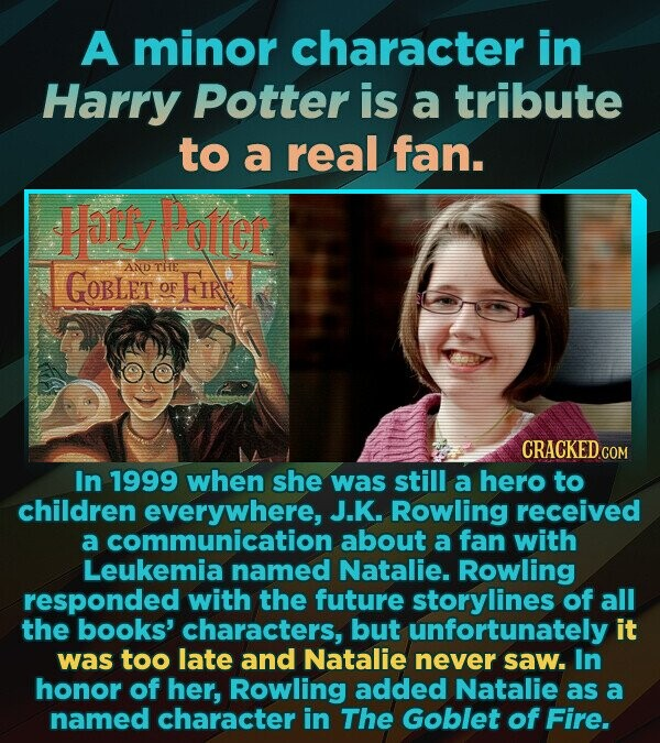 A minor character in Harry Potter is a tribute to a real fan. Harly Potter AND GOBLET THe FIRE OF In 1999 when she was still a hero to children everywhere, J.K. Rowling received a communication about a fan with Leukemia named Natalie. Rowling responded with the future storylines