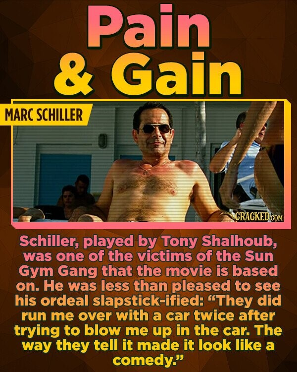 Pain & Gain MARC SCHILLER Schiller, played by Tony Shalhoub, was one of the victims of the Sun Gym Gang that the movie is based on. He was less than pleased to see his ordeal slapstick-ified: They did run me over with a car twice after trying to blow