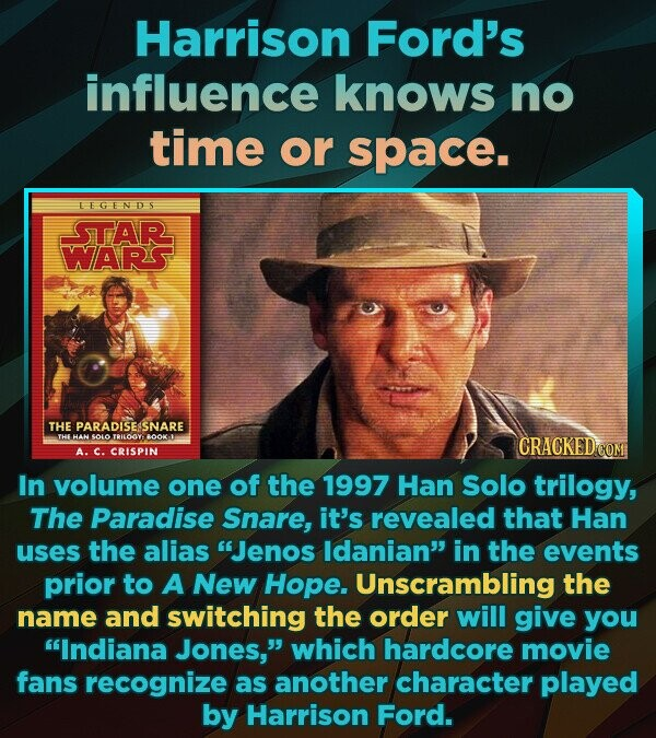 Harrison Ford's influence knows no time or space. LEGENDS STAR WARS THE PARADISESSNARE THE HAN SO10 TRILOYO BOOK-I A. C. CRISPIN In volume one of the 1997 Han Solo trilogy, The Paradise Snare, it's revealed that Han uses the alias Jenos Idanian in the events prior to A New
