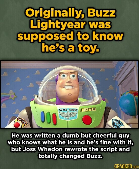 Originally, Buzz Lightyear was supposed to know he's a toy. SPACE RANGER LIGHTYEAR LASERN HE was written a dumb but cheerful guy who knows what he is and he's fine with it, but Joss Whedon rewrote the script and totally changed Buzz. CRACKED COM