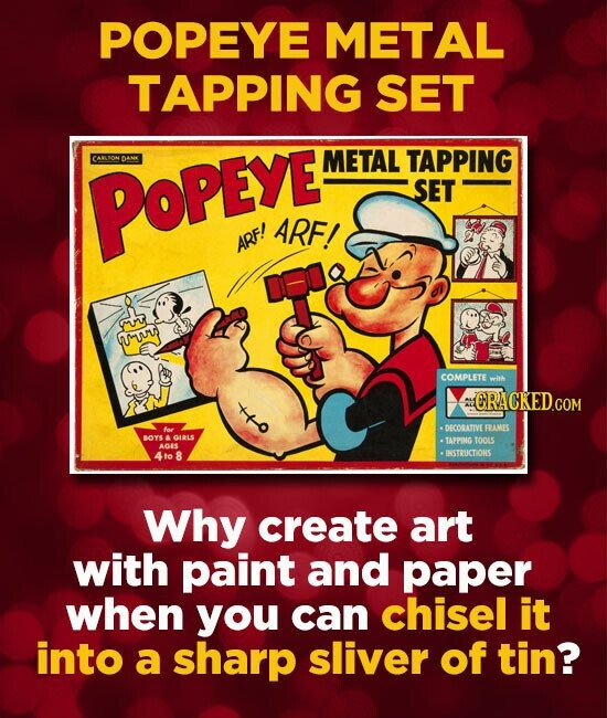 POPEYE METAL TAPPING SET METAL TAPPING POPEYE SET ARF! ARF! UIM COMPLETE wink o ORACKEDcO A foc .DECORATIVEERAMES BOYS A GILS TAPPIG TOOLS A 4to 8 INS