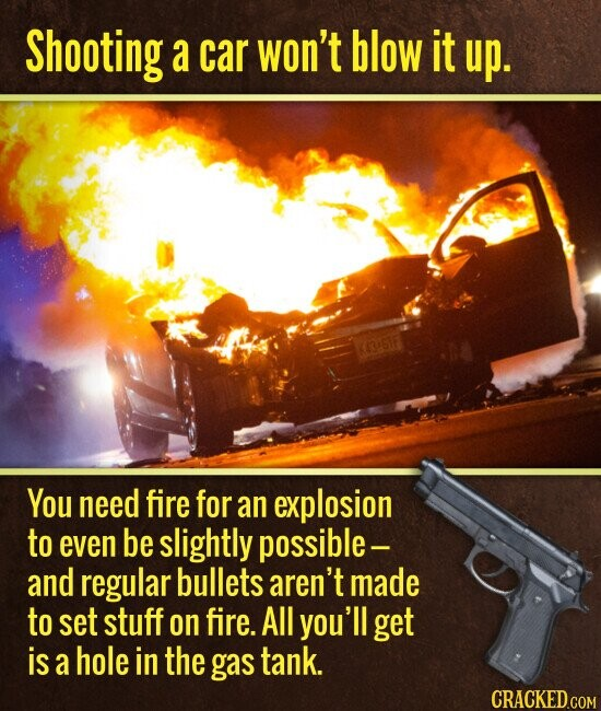 Shooting a car won't blow it up. You need fire for an explosion to even be slightly possible- and regular bullets aren't made to set stuff on fire. All you'll get is a hole in the gas tank.