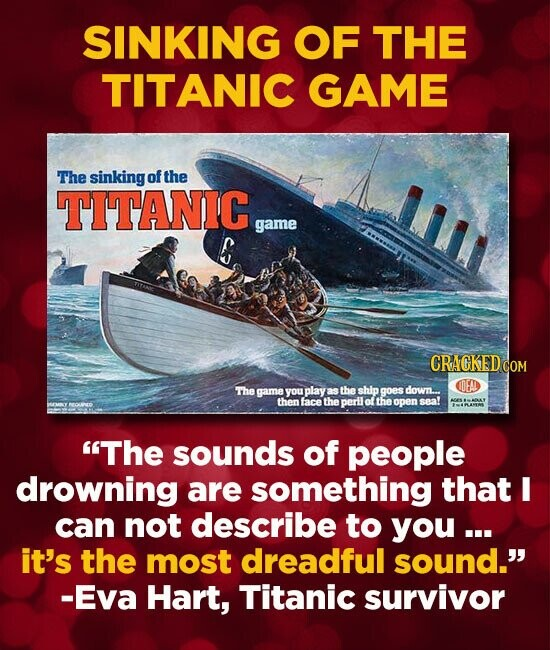 SINKING OF THE TITANIC GAME The sinking of the TITANIC game The game you play as the ship goes down... then face the peril of the open sea! The sound