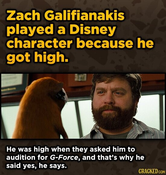 Zach Galifianakis played a Disney character because he got high. He was high when they asked him to audition for G-Force, and that's why he said yes, he says.