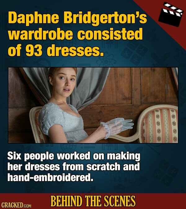 Daphne Bridgerton's wardrobe consisted of 93 dresses. Six people worked on making her dresses from scratch and hand-embroidered. BEHIND THE SCENES CRACKED COM