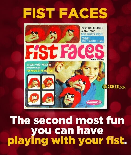 FIST FACES YOUR FIST BECOMES A REAL FACE MOVES WIGGLES N TWITCHES CONTAINS: 1WIG-1KERCHIEF-4FACES FiSt Faces FUNNY FACE tOY 4 FACES WIG KERCHIEF MOUTH