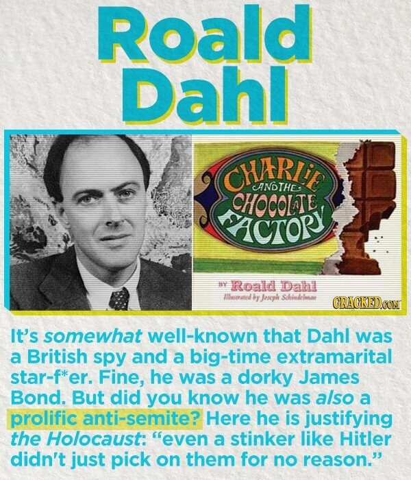 Roald Dahl CHARLiR ANDTHE: CHOCOLTE ACTORY nY Roald Dahl HIlusaned exple thllse CRACKEDOON It's somewhat well-known that Dahl was a British spy and a big-time extramarital star-f*er. Fine, he was a dorky James Bond. But did you know he was also a prolific anti-semite? Here he is justifying the Holocaust: