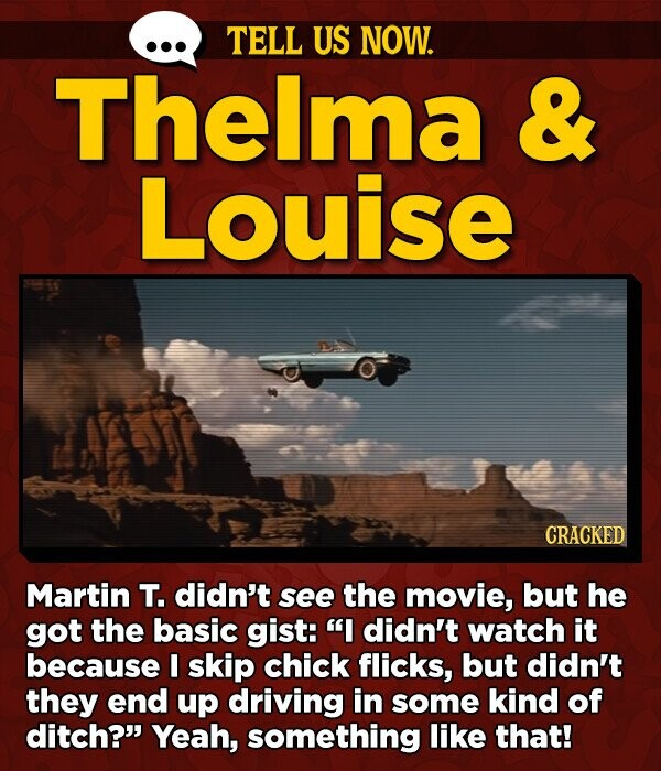 TELL US NOW. Thelma & Louise CRACKED Martin T. didn't see the movie, but he got the basic gist: I didn't watch it because I skip chick flicks, but didn't they end up driving in some kind of ditch? Yeah, something like that!