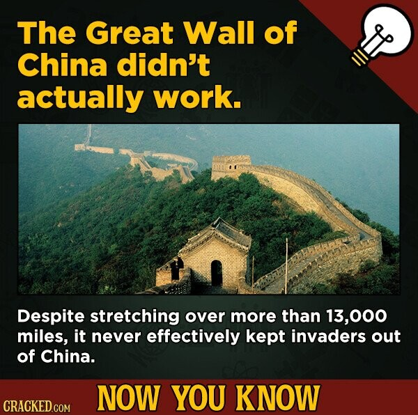 The Great Wall of China didn't actually work. Despite stretching over more than , miles, it never effectively kept invaders out of China. NOW YOU KNOW