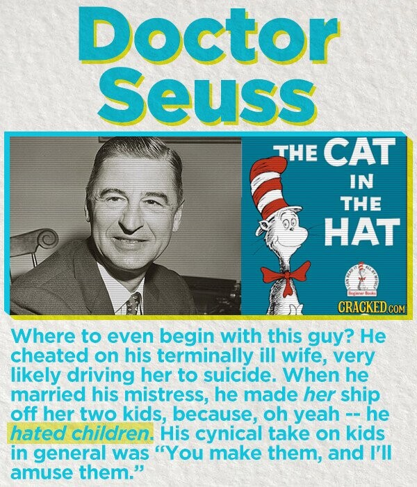 Doctor Seuss THE CAT IN THE HAT CRACKEDcO Where to even begin with this guy? He cheated on his terminally ill wife, very likely driving her to suicide. When he married his mistress, he made her ship off her two kids, because, oh yeah - he hated children. His cynical take