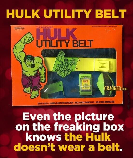 HULK UTILITY BELT RREMICO HULK THE INCREDIBLE UTILITY BELT HULK. TR ep CRACKED COR WRIST GAUNTLETS. NNOOULATOR UTUTY GAMILA RADLATIONT DETECTOR - HULX