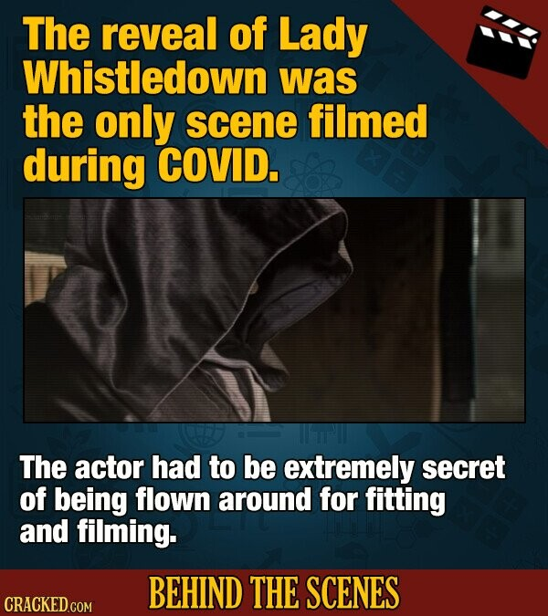 The reveal of Lady Whistledown was the only scene filmed during COVID. The actor had to be extremely secret of being flown around for fitting and filming. BEHIND THE SCENES CRACKED COM