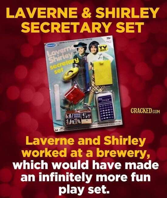 LAVERNE & SHIRLEY SECRETARY SET 79- T Laverne E Shirley setretory seF CFN CRACKED.COM UEEEE SoT AA Laverne and Shirley worked at a brewery, which woul