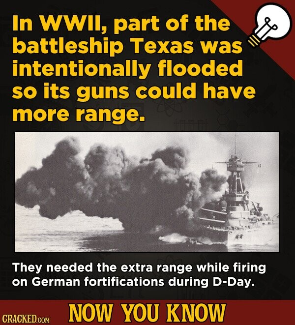 In WWIl, part of the battleship Texas was intentionally flooded SO its guns could have more range. They needed the extra range while firing on German