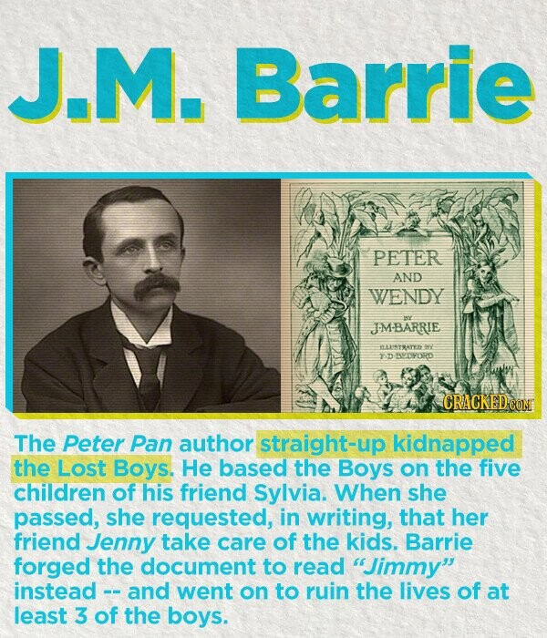 J.M. Barrie PETER AND WENDY m JM-BARRIE ILLNSTRATYD 40 yD BEDYORD The Peter Pan author straight-up kidnapped the Lost Boys. He based the Boys on the five children of his friend Sylvia. When she passed, she requested, in writing, that her friend Jenny take care of the kids. Barrie