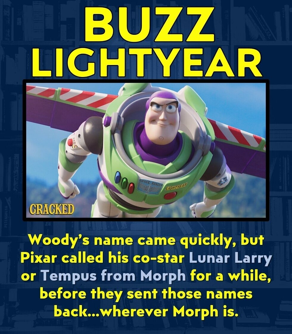 BUZZ LIGHTYEAR SPACE RANCER LIGHIYTEDE CRACKED Woody's name came quickly, but Pixar called his co-star Lunar Larry or Tempus from Morph for a while, before they sent those names back...wherever Morph is.