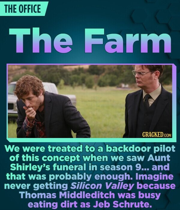 THE OFFICE The Farm CRACKED.COM We were treated to a backdoor pilot of this concept when we saw Aunt Shirley's funeral in season 9... and that was pro