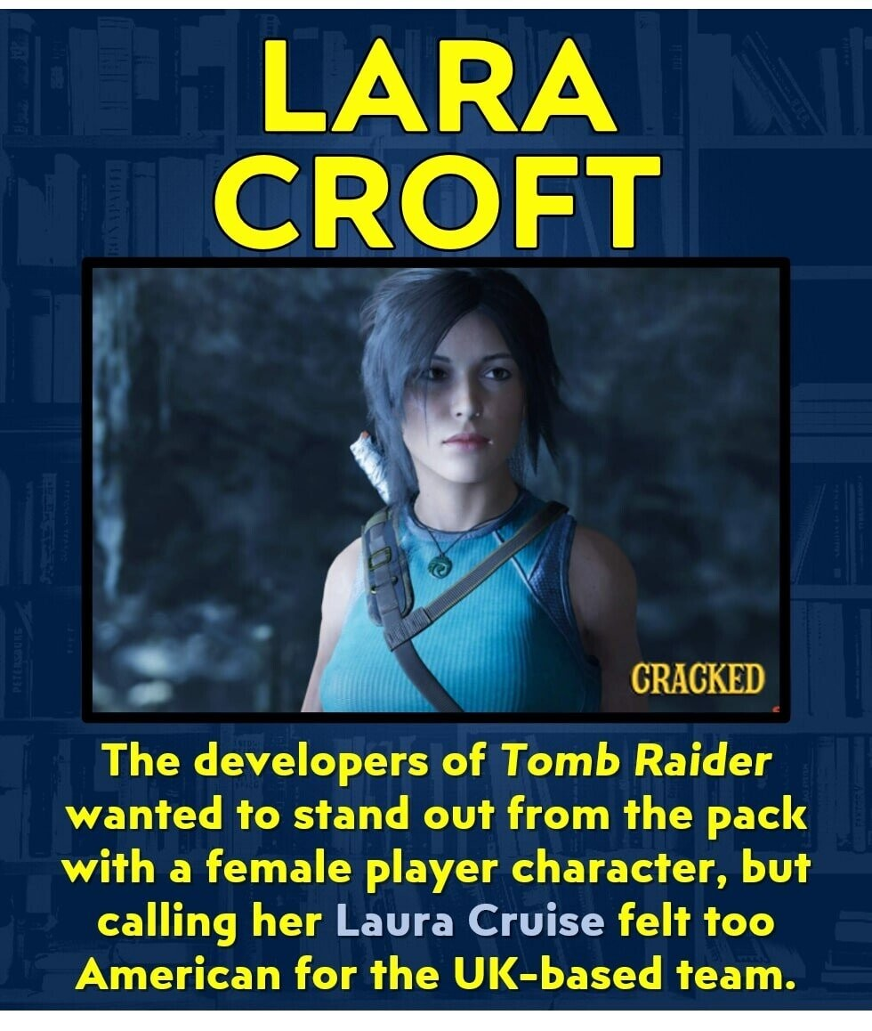 LARA CROFT CRACKED The developers of Tomb Raider wanted to stand out from the pack with a female player character, but calling her Laura Cruise felt too American for the UK-based team.