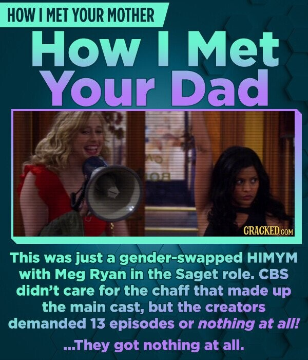 HOW I MET YOUR MOTHER How Met Your Dad This was just a gender-swapped HIMYM with Meg Ryan in the Saget role. CBS didn't care for the chaff that made u