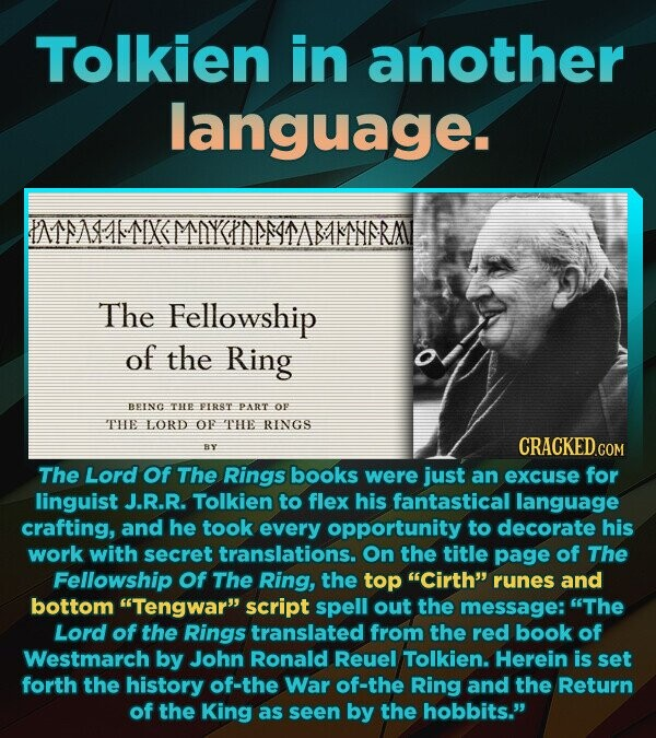 Tolkien in another language. IMSAMAMTIXMOYEIDMMASAMSRM The Fellowship of the Ring BEENO THEE PIRS'T PART oF THE LORD OF THE RINGS CRACKED RY COM The Lord Of The Rings books were just an excuse for linguist J.R.R. Tolkien to flex his fantastical language crafting, and he took every opportunity to decorate