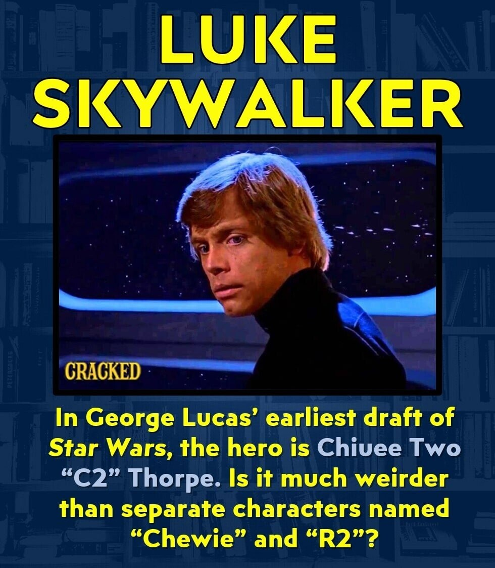 LUKE SKYWALKER CRACKED In George Lucas' earliest draft of Star Wars, the hero is Chiuee Two C2 Thorpe. Is it much weirder than separate characters named Chewie and R2?