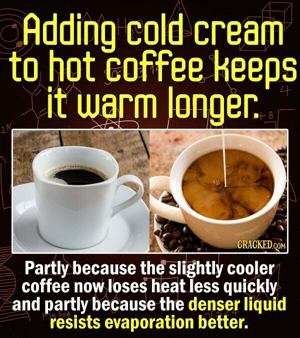 Adding cold cream to hot coffee keEPS it warm longer. CRACKEDo Partly because the slightly cooler coffee now loses heat less quickly and partly because the denser liquid resists evaporation better.
