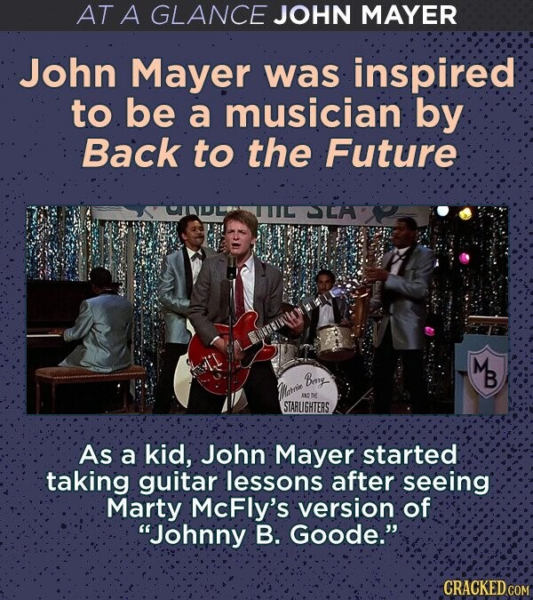 AT A GLANCE JOHN MAYER John Mayer was inspired to be a musician: by Back to the Future TTL LA M Bey B AN  STARLIGHTERS As a kid, Johin Mayer started taking guitar lessons after seeing Marty McFly's version of Johnny B. Goode. CRACKED COM