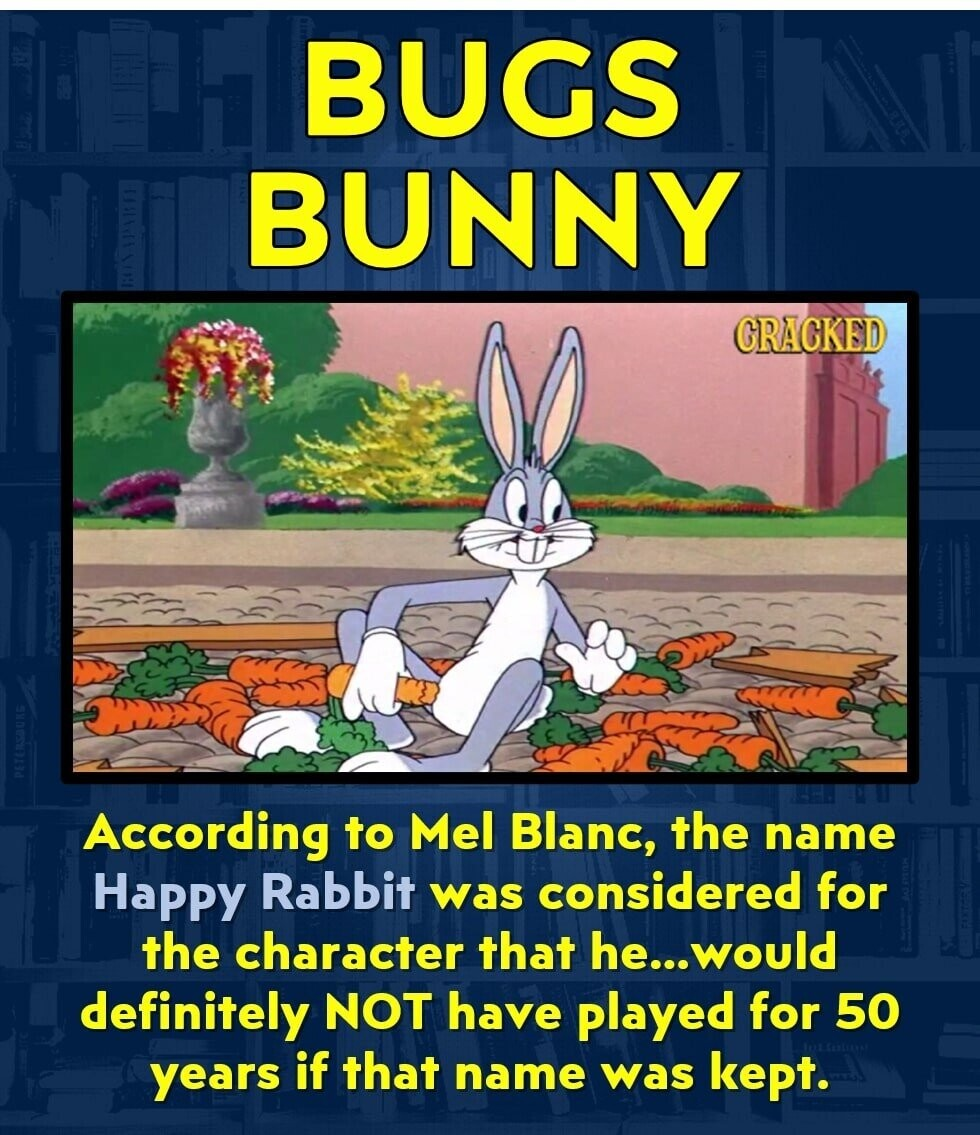 BUGS BUNNY CRACKED According to Mel Blanc, the name Happy Rabbit was considered for the character that he... would definitely NOT have played for 50 years if that name was kept.