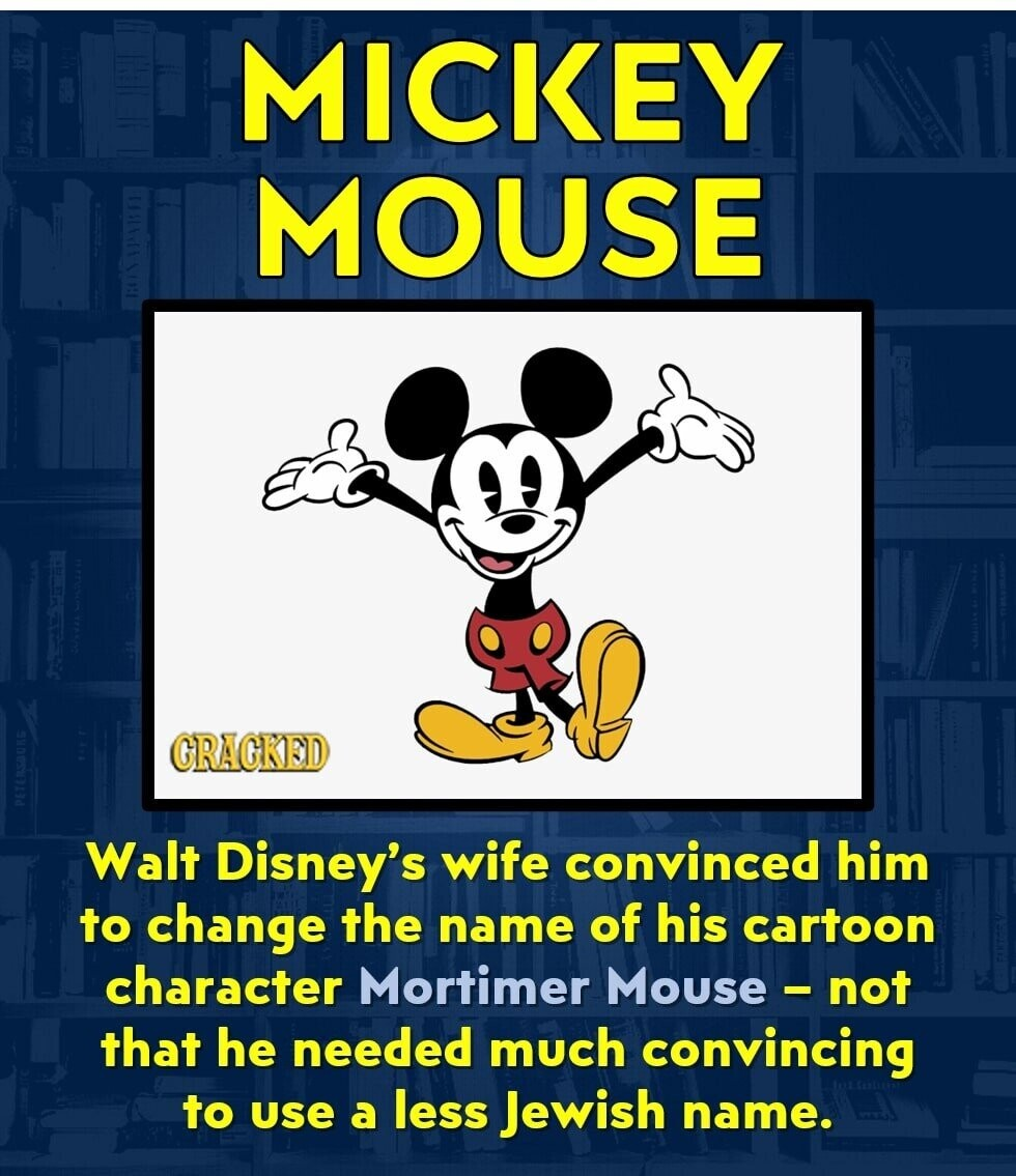 MICKEY MOUSE GRAGKEID Walt Disney's wife convinced him to change the name of his cartoon character Mortimer Mouse not that he needed much convincing to use a less Jewish name.