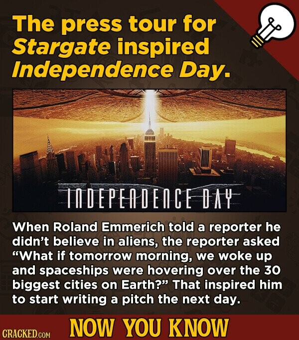 The press tour for Stargate inspired Independence Day. INDEPEDECE DAY When Roland Emmerich told a reporter he didn't believe in aliens, the reporter a