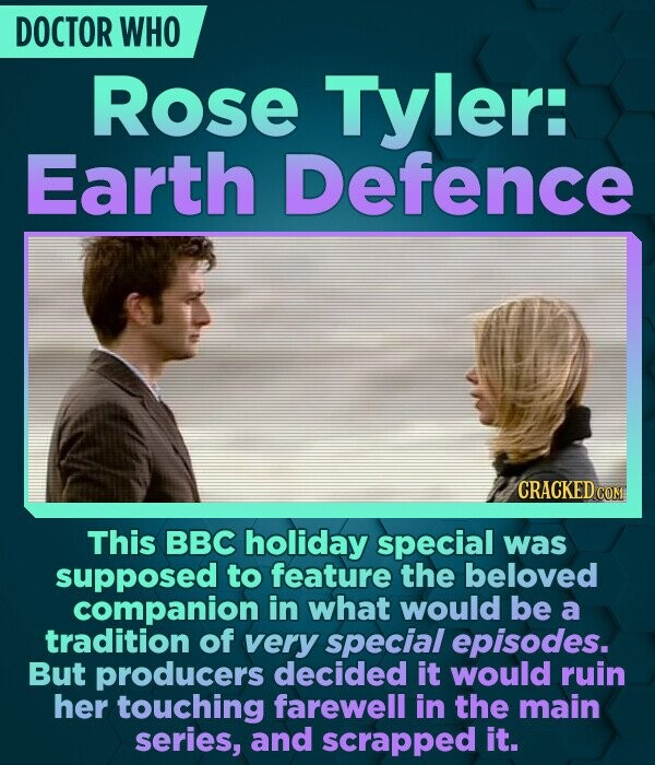DOCTOR WHO Rose Tyler: Earth Defence CRACKED COM This BBC holiday special was supposed to feature the beloved companion in what would be a tradition o