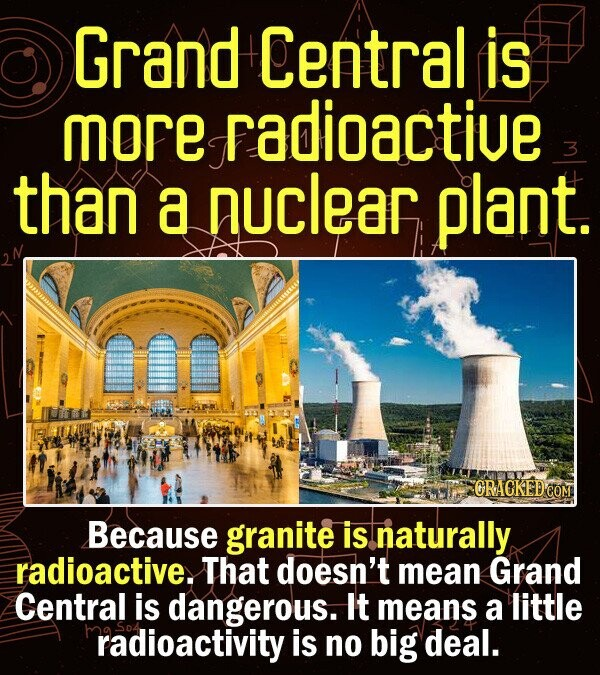 Grand Central is more radioactiue 3 than a nuclear plant. CRACKED CO Because granite is naturally radioactive. That doesn't mean Grand Central is dangerous. It means a little radioactivity is no big deal.