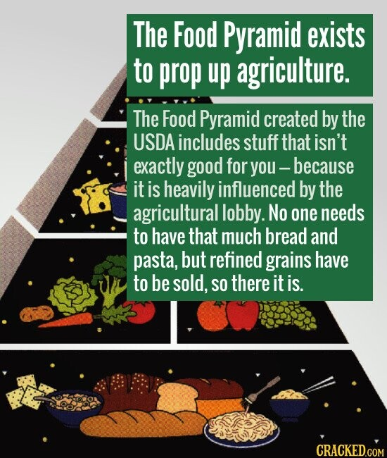 The Food Pyramid exists to prop up agriculture. The Food Pyramid created by the USDA includes stuff that isn't exactly good for you - because it is he