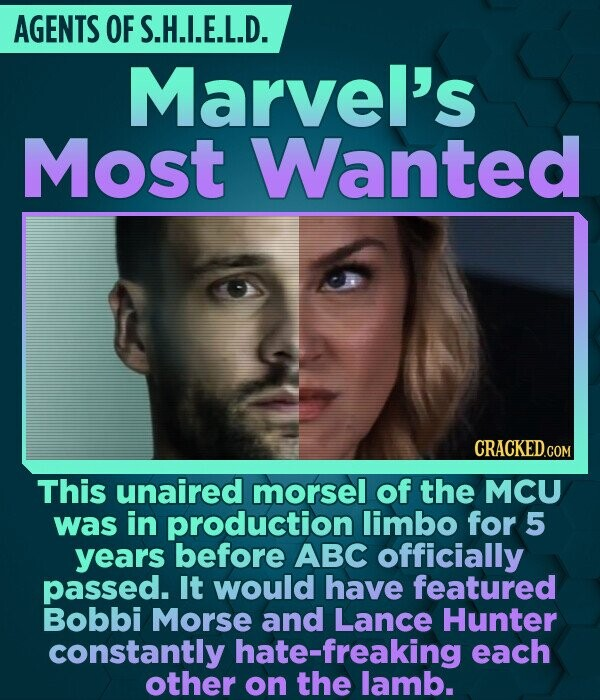 AGENTS OF S.H.I.E.L.D. Marvel's Most Wanted CRACKED.COM This unaired morsel of the MCU was in production limbo for 5 years before ABC officially passe