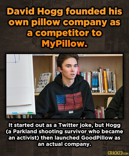 David Hogg founded his own pillow company as a competitor to MyPillow. Y1 10 URD MfJfIT 4f u DIt It started out as a Twitter joke, but Hogg (a Parkland shooting survivor who became an activist) then launched Goodpillow as an actual company.