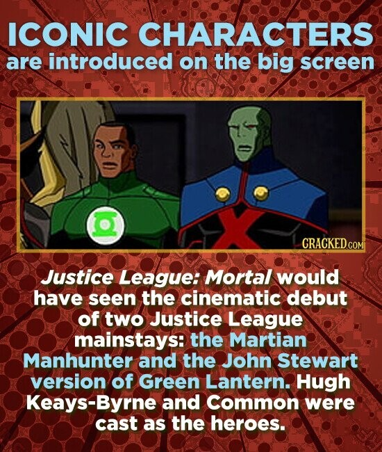 ICONIC CHARACTERS are introduced on the big screen Justice League: Mortal would have seen the cinematic debut of two Justice LeaGUE mainstays: the Martian Manhunter and the John Stewart version of Green Lantern. Hugh S-Byrne and Common were cast as the heroes.