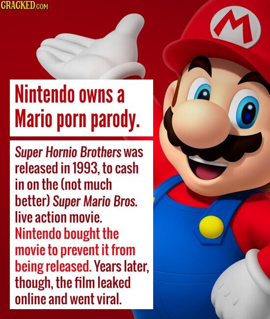 Nintendo owns a Mario porn parody. Super Hornio Brothers was released in 1993, to cash in on the (not much better) Super Mario Bros. liv