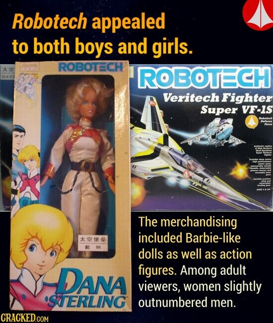Robotech appealed to both boys and girls. The merchandising included Barbie-like as well as action figures. Among adult viewers, women slightly outnumbered men.